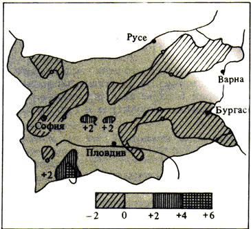 Карта на вартикалните движения на земната кора на територията на България